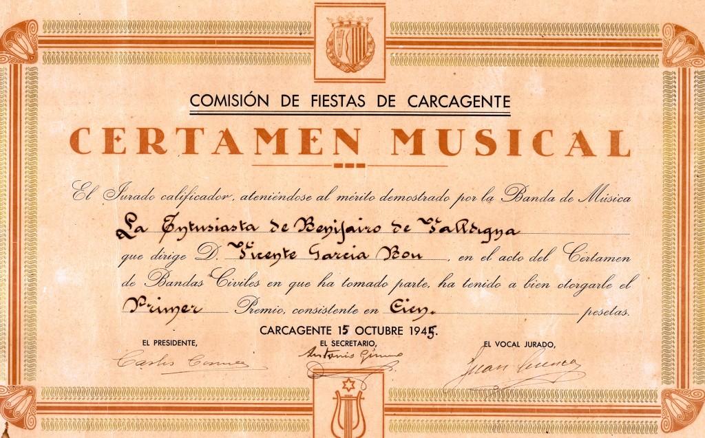 1945 Diploma Certamen Carcaixent