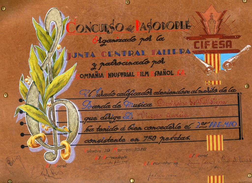 1946 Diploma Certamen pasdobles en València