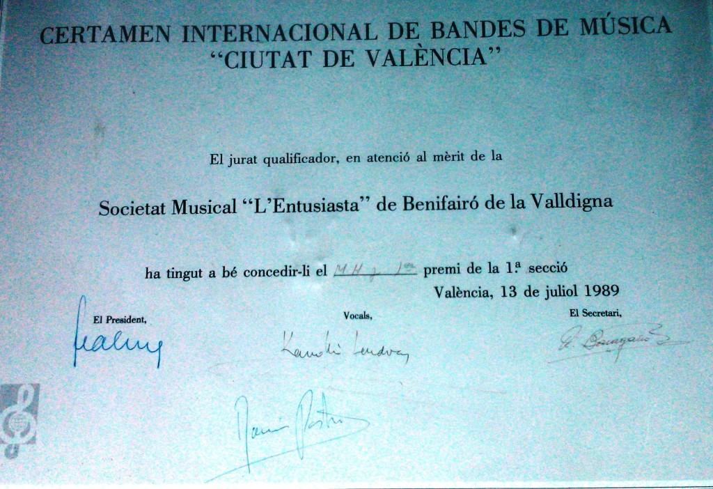 1989 Diploma Certamen València