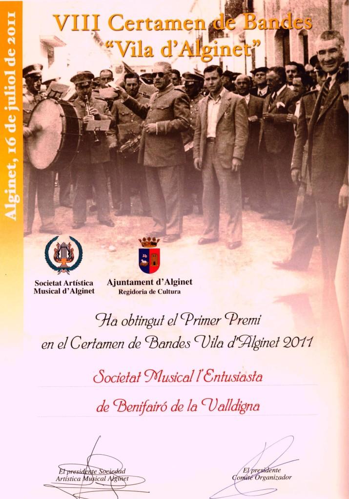 2011 Diploma del Certamen Vila d´Alginet