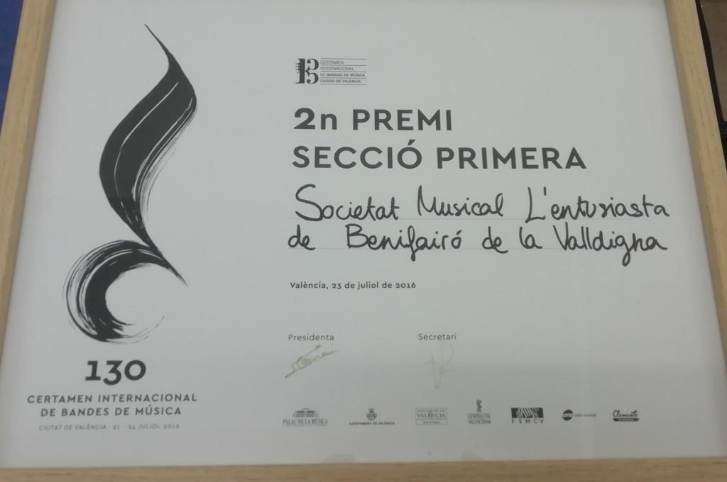 2016 Diploma del Certamen de València